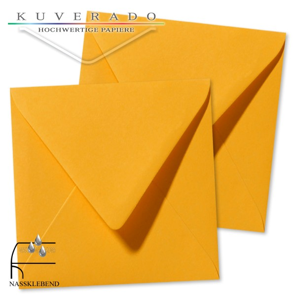 gelbe Briefumschläge im Format quadratisch 140x140 mm