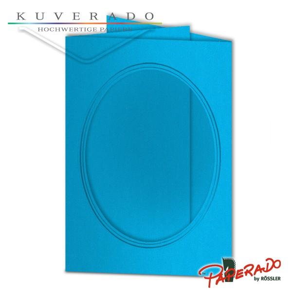 Paperado Passepartoutkarten mit ovalem Ausschnitt in pacificblau DIN B6