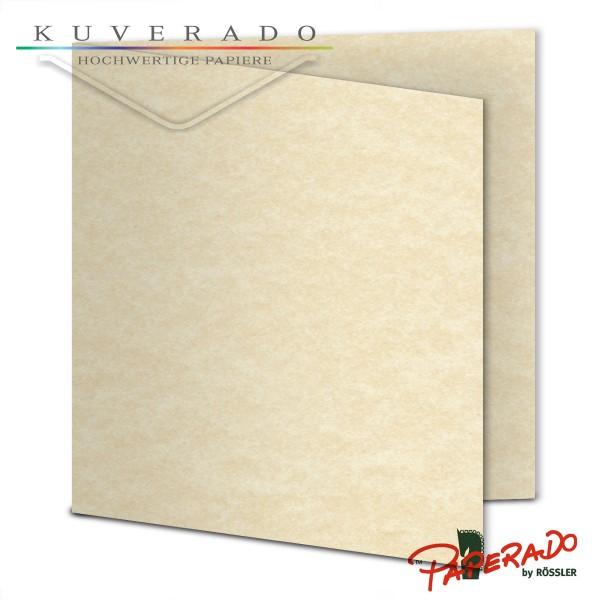 Paperado Karten in beige vellum marmoriert quadratisch