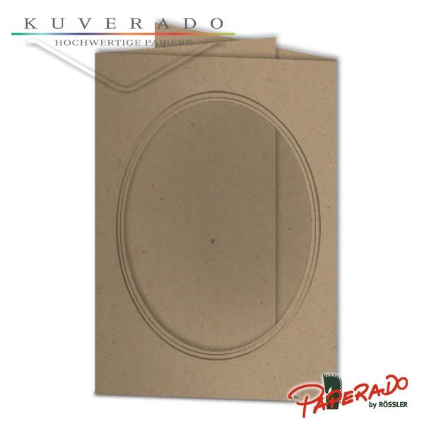 Paperado Passepartoutkarten mit ovalem Ausschnitt in Kraftpapier braun DIN B6