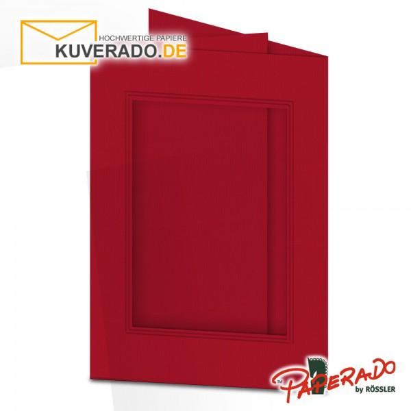 Paperado Passepartoutkarten mit eckigem Ausschnitt in rot DIN B6