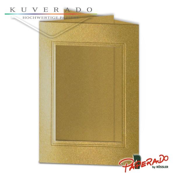 Paperado Passepartoutkarten mit eckigem Ausschnitt in gold DIN B6