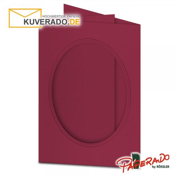 Paperado Passepartoutkarten mit ovalem Ausschnitt in rosso DIN B6