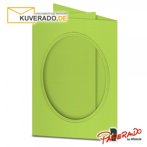 Paperado Passepartoutkarten mit ovalem Ausschnitt in maigrün DIN B6