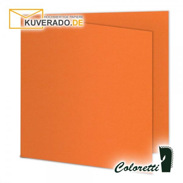 Orange Doppelkarten in apfelsine quadratisch 220 g/qm von Coloretti