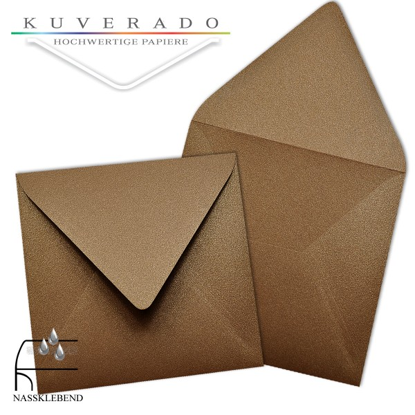 glänzende metallic Briefumschläge in braun im quadratischen Format 140 x 140 mm