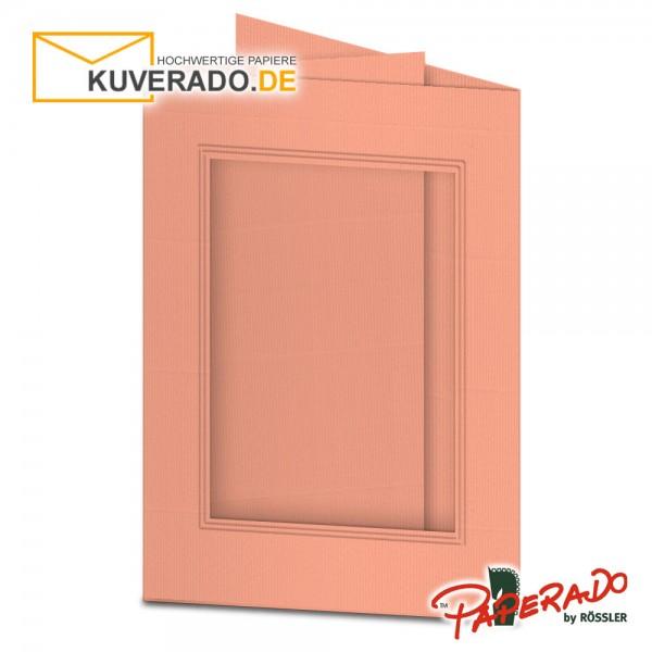 Paperado Passepartoutkarten mit eckigem Ausschnitt in coral DIN B6