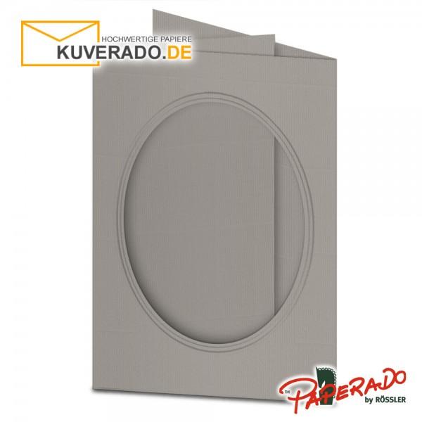 Paperado Passepartoutkarten mit ovalem Ausschnitt in taupe-grau DIN B6