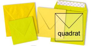 gelbe Briefumschläge im Format quadratisch