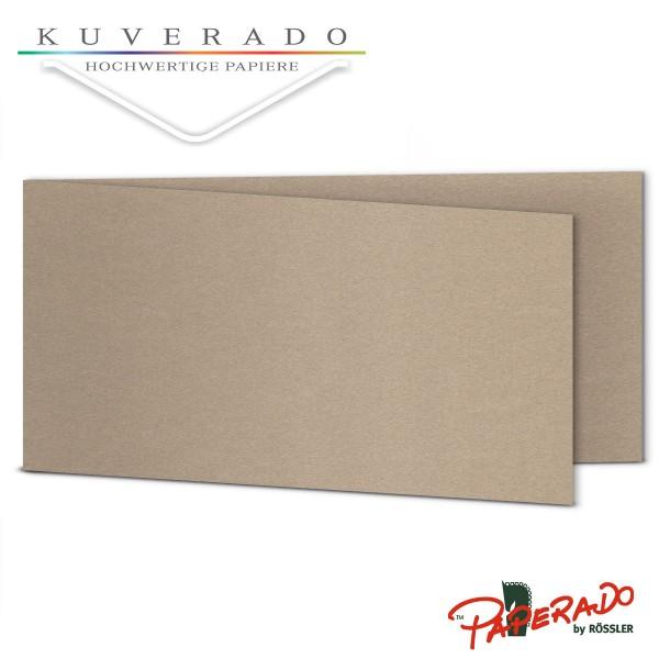 Paperado Karten in taupe grau metallic DIN lang Querformat