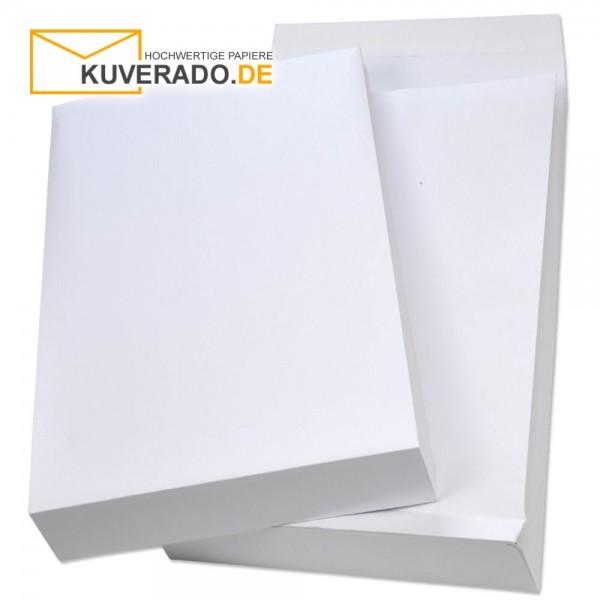 Weiße Faltentaschen 140 g/qm mit Klotzboden in DIN C4 und 40mm Falte