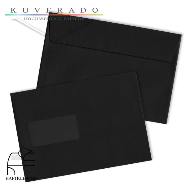 schwarze Briefumschläge DIN C5 Fenster