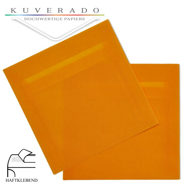 transparente Briefumschläge quadratisch in orange