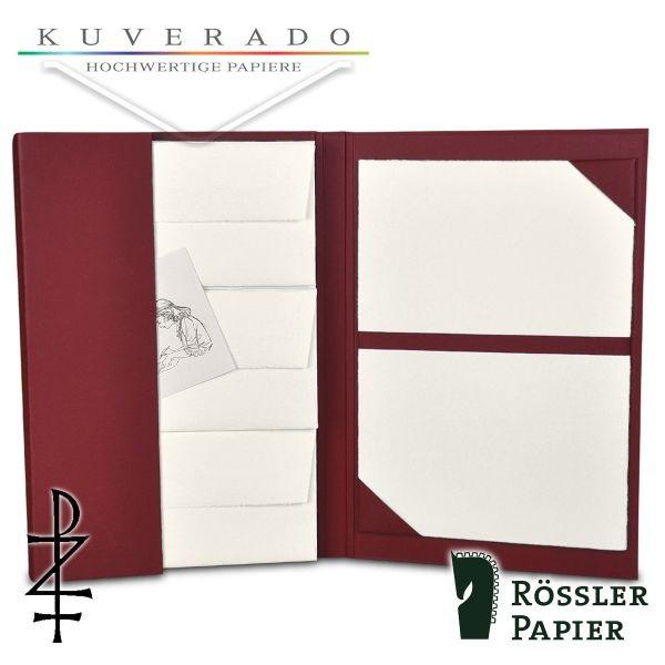 rote Briefpapiermappe mit natur-weißem Büttenpapier