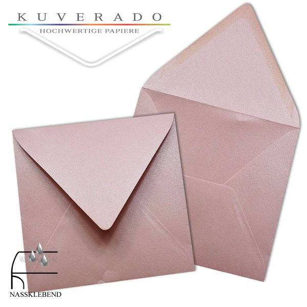 glänzende metallic Briefumschläge in rosa im quadratischen Format 140 x 140 mm