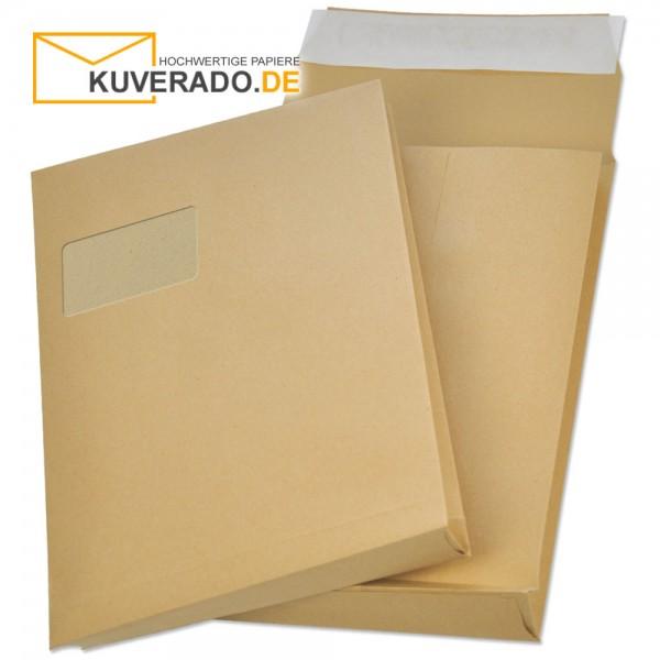 Braune Faltentaschen mit Adressfenster und Klotzboden in DIN C4 und 20mm Falte