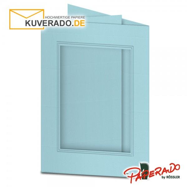 Paperado Passepartoutkarten mit eckigem Ausschnitt in aquablau DIN B6