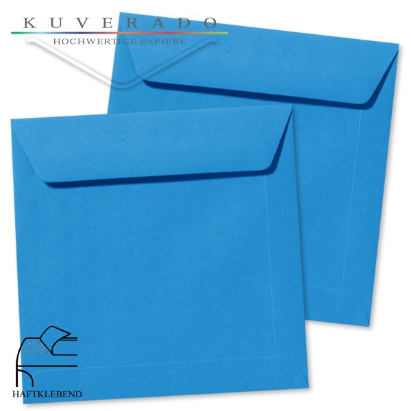 blaue Briefumschläge im Format quadratisch 160x160 mm