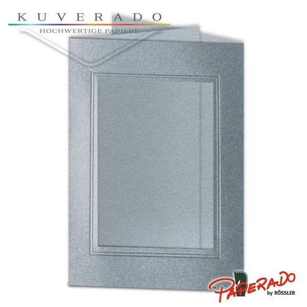 Paperado Passepartoutkarten mit eckigem Ausschnitt in silber DIN B6