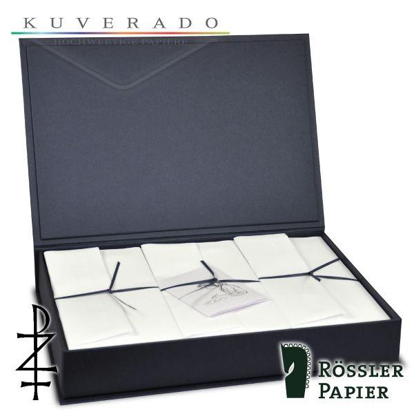 graue Briefpapierkassette mit natur-weißem Büttenpapier