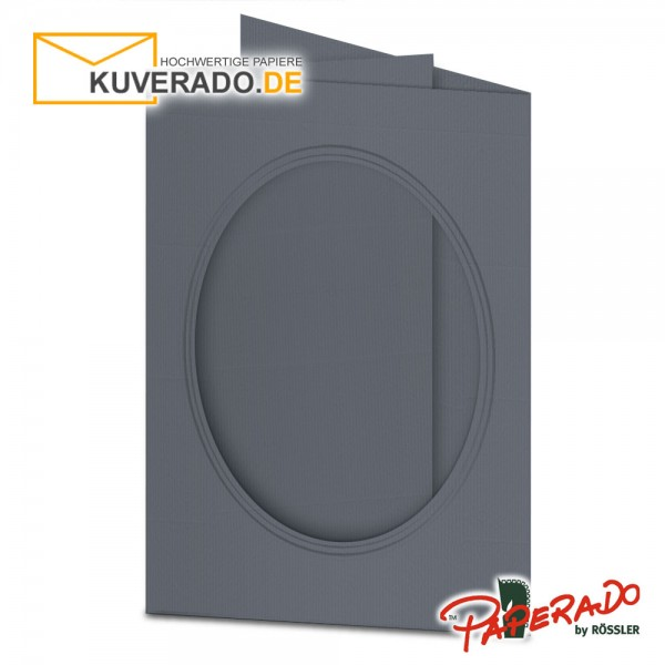 Paperado Passepartoutkarten mit ovalem Ausschnitt in schiefergrau DIN B6
