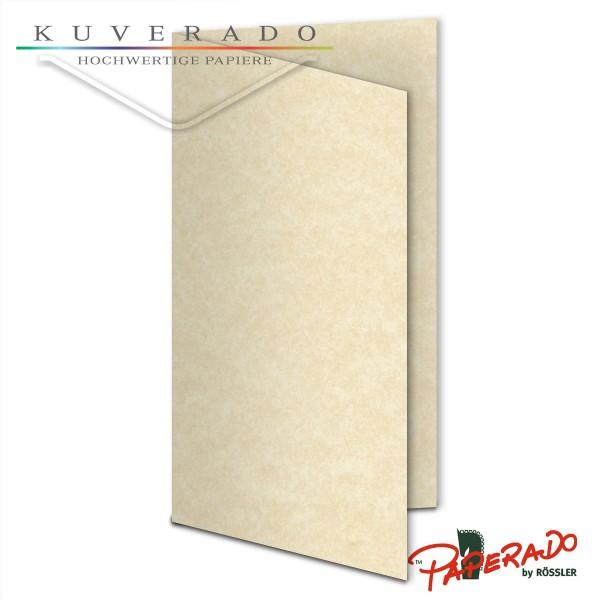 Paperado Karten in beige vellum marmoriert DIN lang