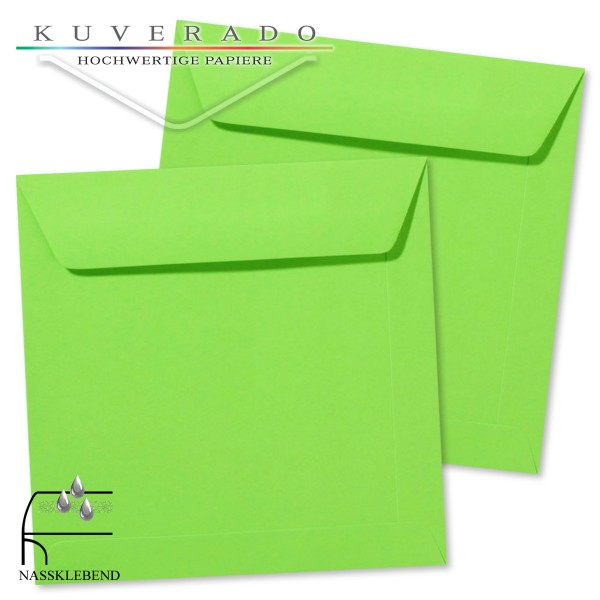 grüne Briefumschläge im Format quadratisch 190x190 mm