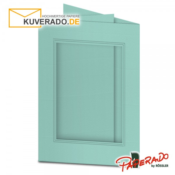 Paperado Passepartoutkarten mit eckigem Ausschnitt in karibik-blau DIN B6
