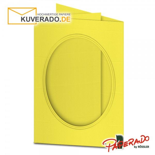Paperado Passepartoutkarten mit ovalem Ausschnitt in soleilgelb DIN B6