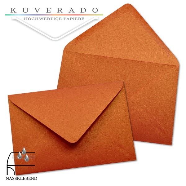 glänzende metallic Briefumschläge in orange im Format 120 x 180 mm