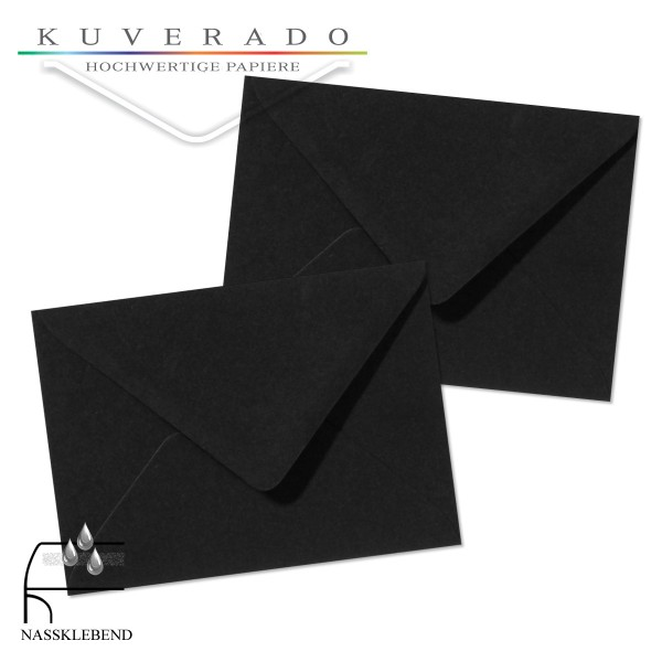 schwarze Briefumschläge im Format 110 x 156 mm