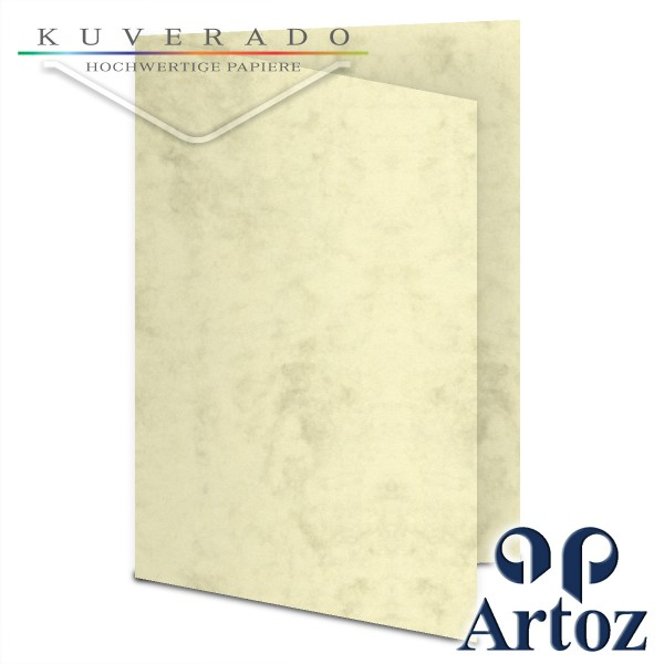 Artoz Antiqua marmorierte Doppelkarten chamois DIN A5