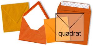orange Briefumschläge im Format quadratisch