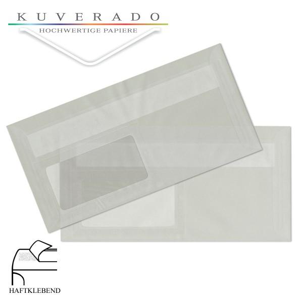 transparente Briefumschläge DIN lang in weiss mit Fenster