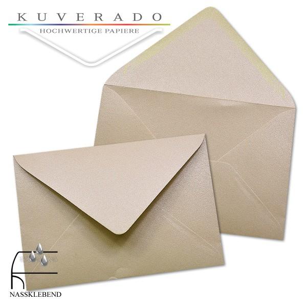 glänzende metallic Briefumschläge in karamell im Format 120 x 180 mm
