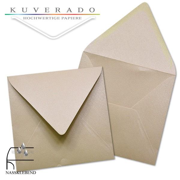 glänzende metallic Briefumschläge in karamell im quadratischen Format 160 x 160 mm