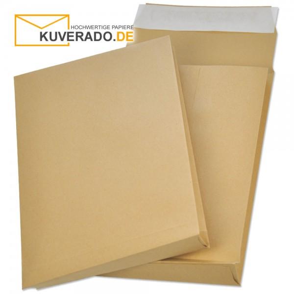 Braune Faltentaschen mit Klotzboden in DIN C4 und 20mm Falte