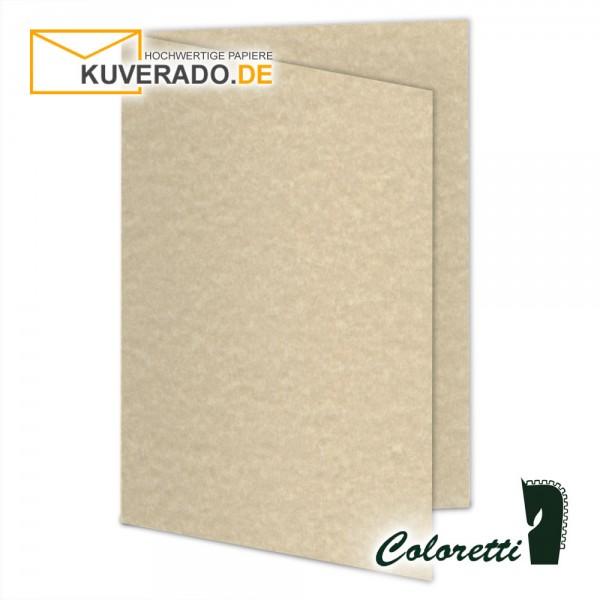 Beige marmorierte Doppelkarten in saharabraun 220 g/qm von Coloretti