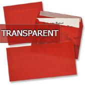 transparente Briefumschläge in rot