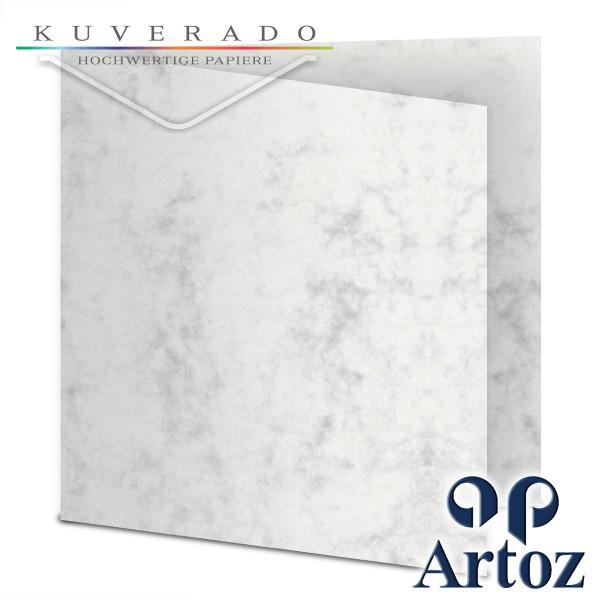 Artoz Antiqua marmorierte Doppelkarten grau quadratisch