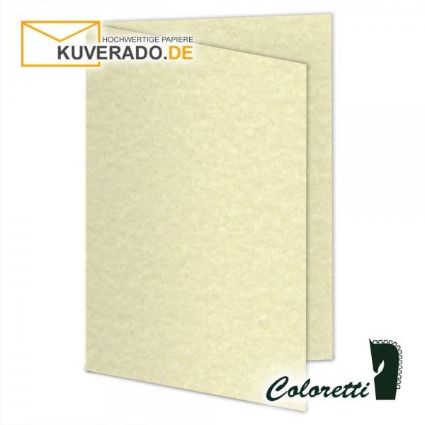 Beige marmorierte Doppelkarten in sandgelb 220 g/qm von Coloretti
