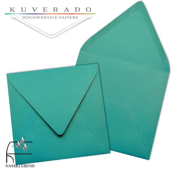 glänzende metallic Briefumschläge in türkis blau im quadratischen Format 140 x 140 mm
