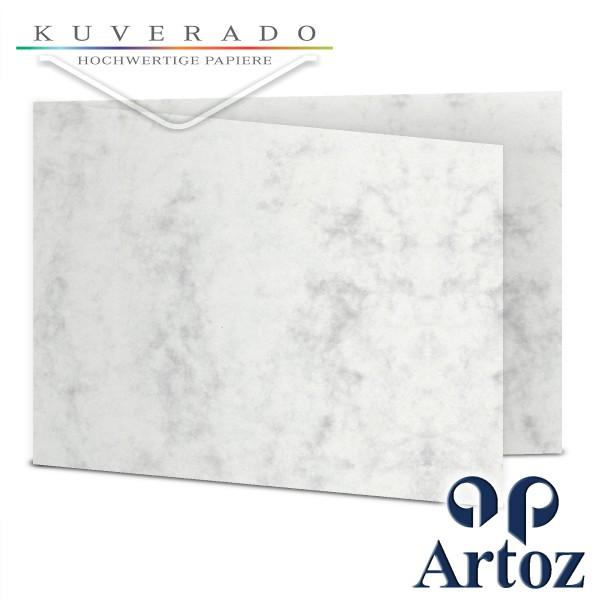 Artoz Antiqua marmorierte Doppelkarten grau DIN B6