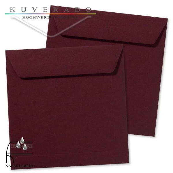 rote Briefumschläge (dunkelrot) im Format quadratisch 170x170 mm