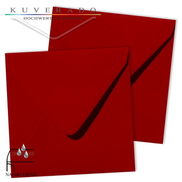rote Briefumschläge im Format quadratisch 120x120 mm