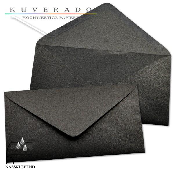 glänzende metallic Briefumschläge in ebenholz-schwarz im Format DIN lang