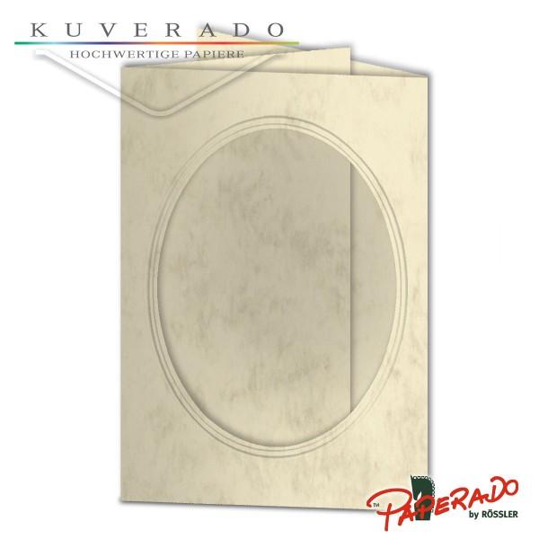 Paperado Passepartoutkarten mit ovalem Ausschnitt in chamois marmoriert DIN B6