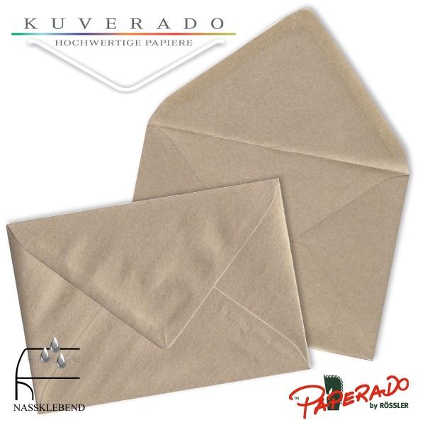 Paperado metallic  Briefumschläge in taupe-grau 157x225 mm