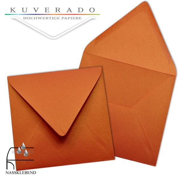 glänzende metallic Briefumschläge in orange im quadratischen Format 140 x 140 mm