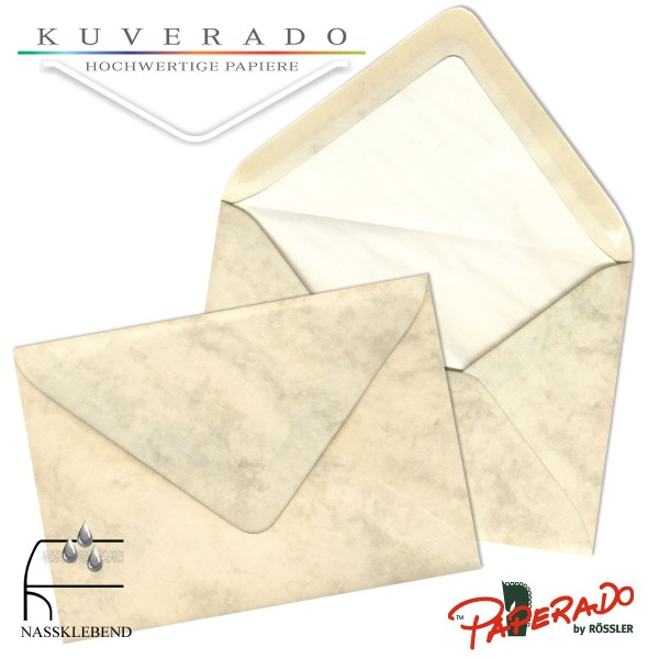 Paperado marmorierte Briefumschläge in chamois DIN C7